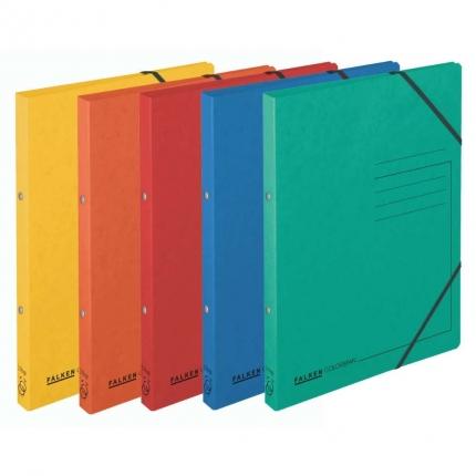 Fünf Ringhefter Falken: gelb, orange, rot, blau und grün