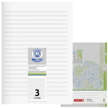 Schulhefte Blauer Engel: Lineatur 3, A4