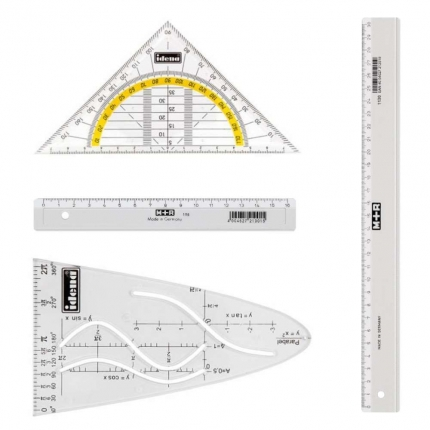 Geometrie-Set, 4-teilig: Geodreieck, zwei Lineale, Parabel
