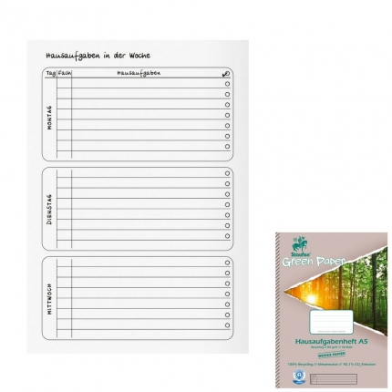 Hausaufgabenheft Recycling A5, Staufen Green Paper