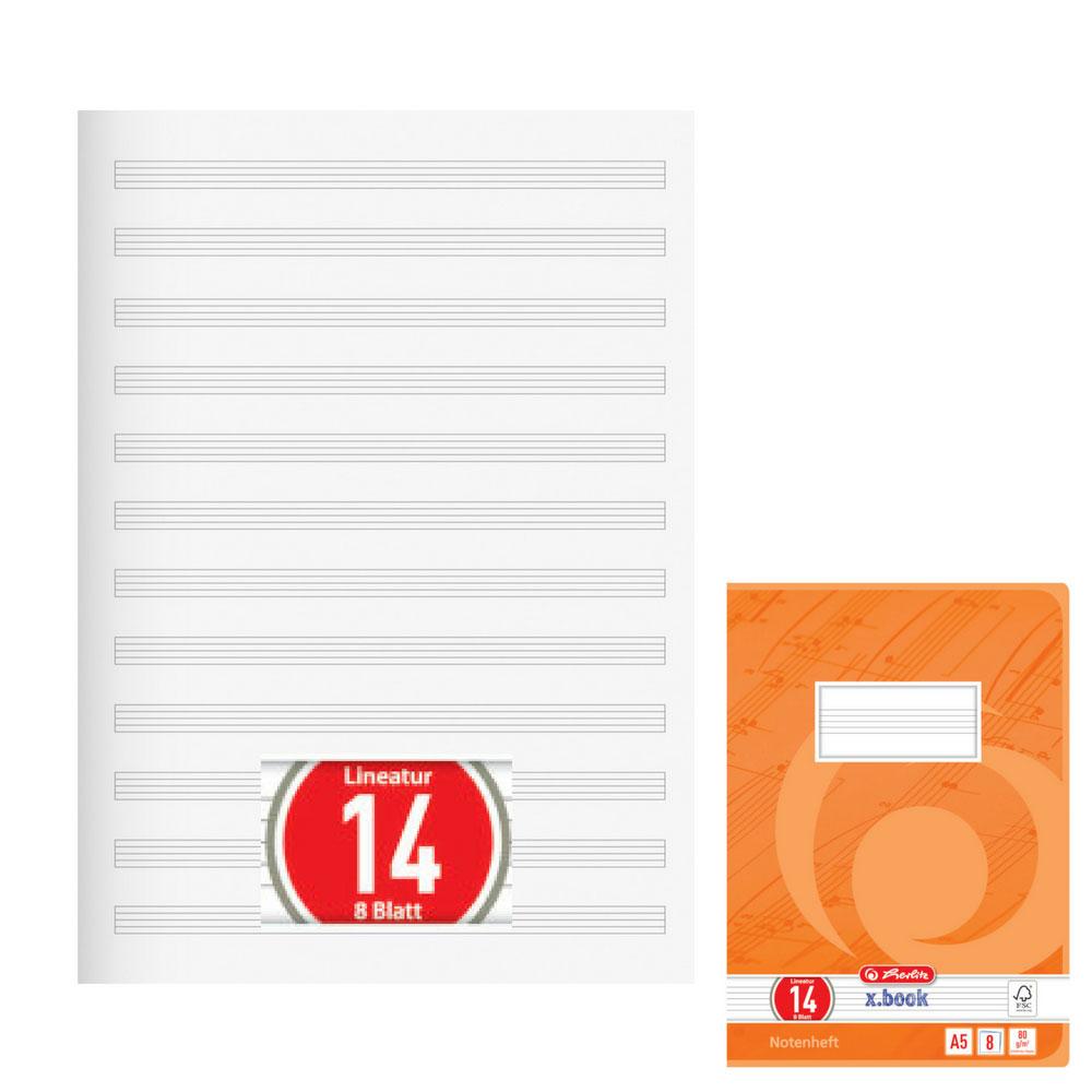 Notenheft DIN A4 Schulheft Lineatur 14