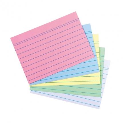 Farbige Karteikarten A7 liniert, 100er Packung